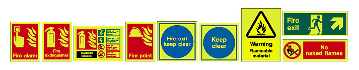Types of fire safety signs