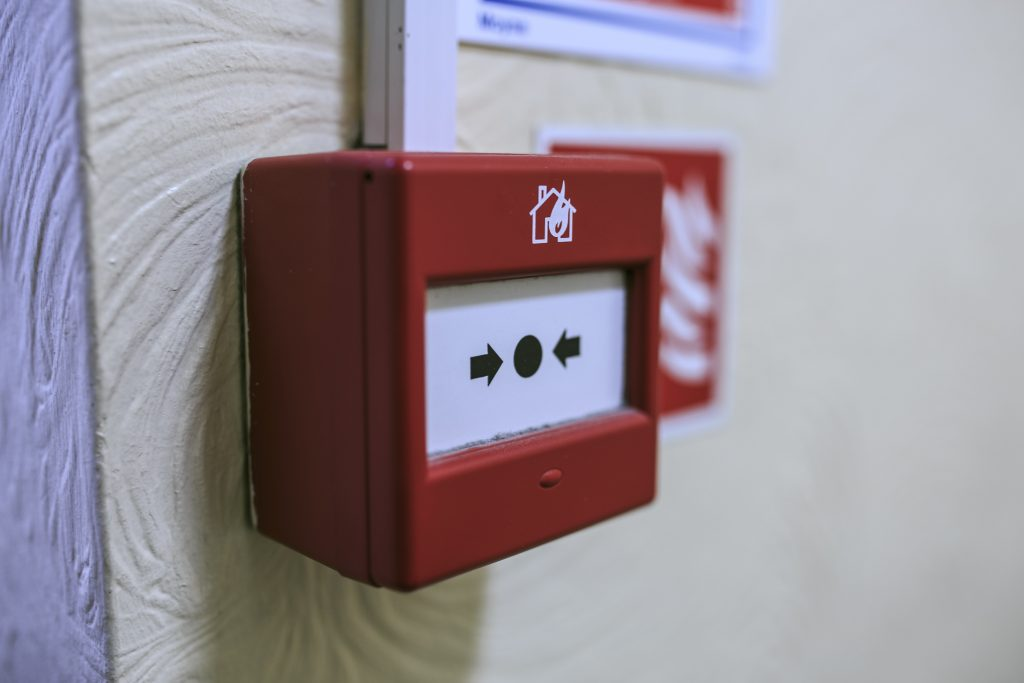 Fire alarm detector on the wall